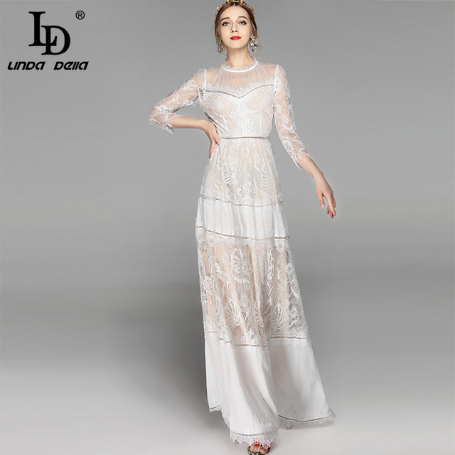 2b910428be96 LD LINDA DELLA Floor Length Party Dresses Women's elegant White Lace  Patchwork Floral Embroidered Party Maxi Long Dress