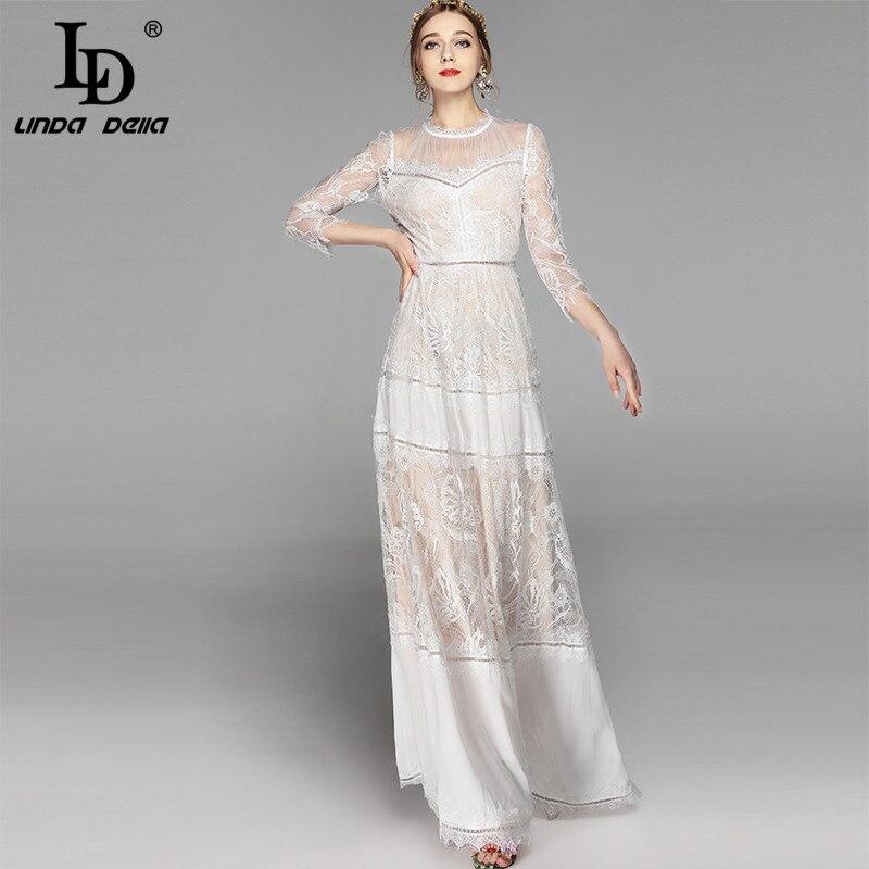 LD LINDA DELLA Étage Longueur robe de fête des Femmes élégant Blanc Dentelle Patchwork Floral Brodé Partie Maxi conduites de carburant