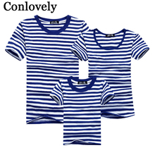 Summer T-Shirt Family Clothing Sailor Striped Dad Son T Shirt Family Look Set Father Mother Daughter Matching Outfits Clothes