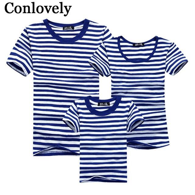 dc5b583aa6e7c T shirt d été vêtement pour la famille Marin Rayé Papa Fils T shirt ...