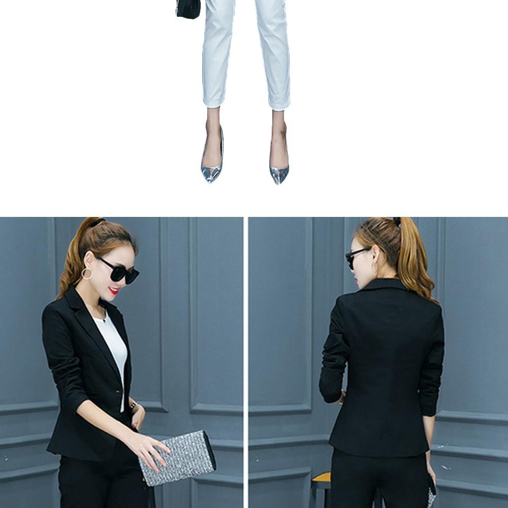 2017 w nowym stylu mody OL eleganckie kobiety pant suits formalna firm garnitur nosić pełne rękawem jednego przycisku femme blazer garnitur szczupła kurtka 16
