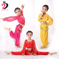 3 Colors Plus Size Indian Long Sleeves Kids Belly Dance Costume Hip Scarf With Sequin Bollywood