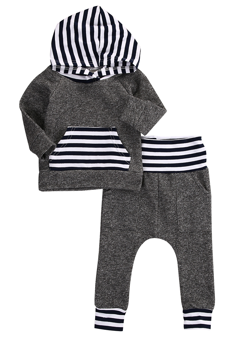 2016 Winter Autumn Toddler Newborn Baby Boy Girl Striped Long Sleeve T-shirt Top Hoodie+Legging Pants 2pcs Outfits Set 2017 new style spring autumn hoodie baby girl clothing set sequin lace long sleeve velour sports jacket long trousers outfits