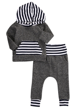 2016 Winter Autumn Toddler Newborn Baby Boy Girl Striped Long Sleeve T-shirt Top Hoodie+Legging Pants 2pcs Outfits Set