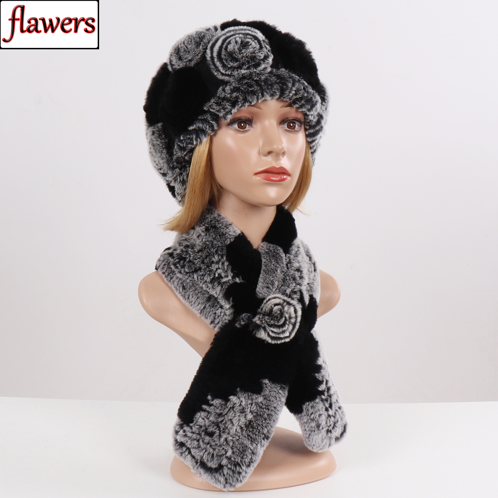 New Winter Flowers Real Rex Rabbit Fur Scarf Hat Set Lady Knitted Real Fur Hats Scarves Good Elastic Natural Fur Mufflers Caps