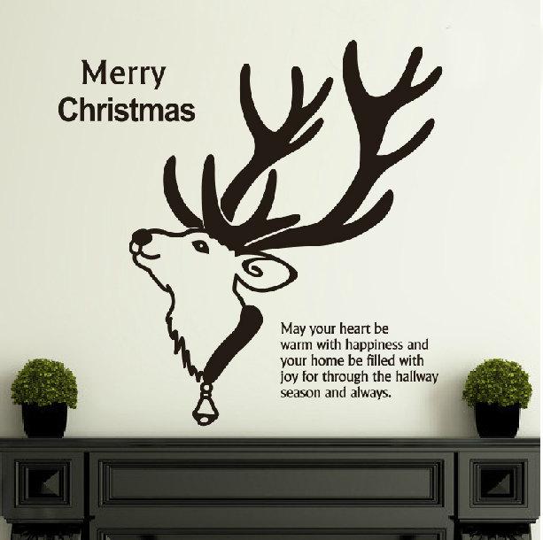 Frohes Neues Jahr Frohe Weihnachten Vinyl Wandmalereien Ästhetische Rentierkopf Art Entwickelt Wandaufkleber...