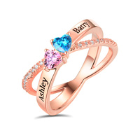 AILIN Engraved Heart Birthstone Criss Cross Ring For Festival Customize Two Heart Birthstones In Rose Gold For Lady X Shape Ring