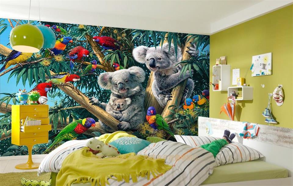 US $15.29 49% OFF|Nach wandbild tapete kinderzimmer 3d foto tapete wald  papagei koala HD ölgemälde TV hintergrund tapete vlies wandbild in Nach ...