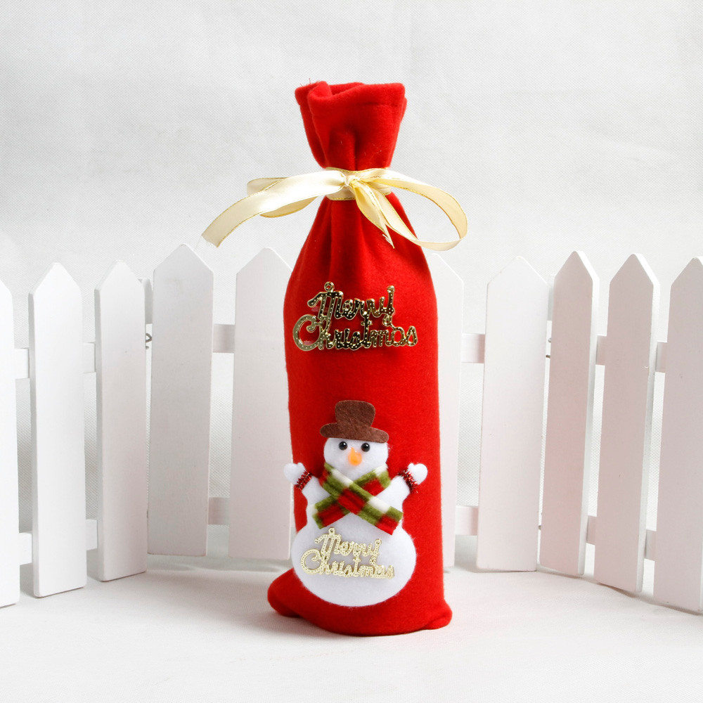Wine Christmas Packaging.Us 0 44 10 Off Red Wine Bottle Cover Bags Decoration Home Party Santa Claus Christmas Packaging Christmas Merry Christmas Decoration In Stockings