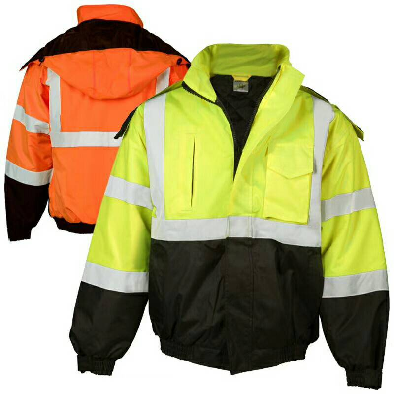 Autumn/Winter Zipper High Visibility Waterproof Bomber Jacket With Rip Stop Safety Workwear Clothing Reflective Working Clothes