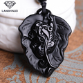 Natural Obsidian pendant jewelry counter genuine wholesale supply of male and female Obsidian brave overnight money