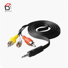 new 70cm 3 5mm jack to 3 rca male plug adapter audio converter video av  cable wire cord