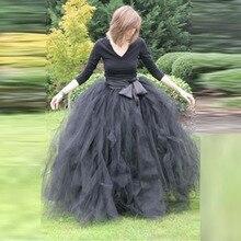 Темно-серая Тюлевая юбка для взрослых, пышные макси юбки, длинные элегантные многослойные трапециевидные юбки с эластичной резинкой на талии в пол, Женская юбка с бантом