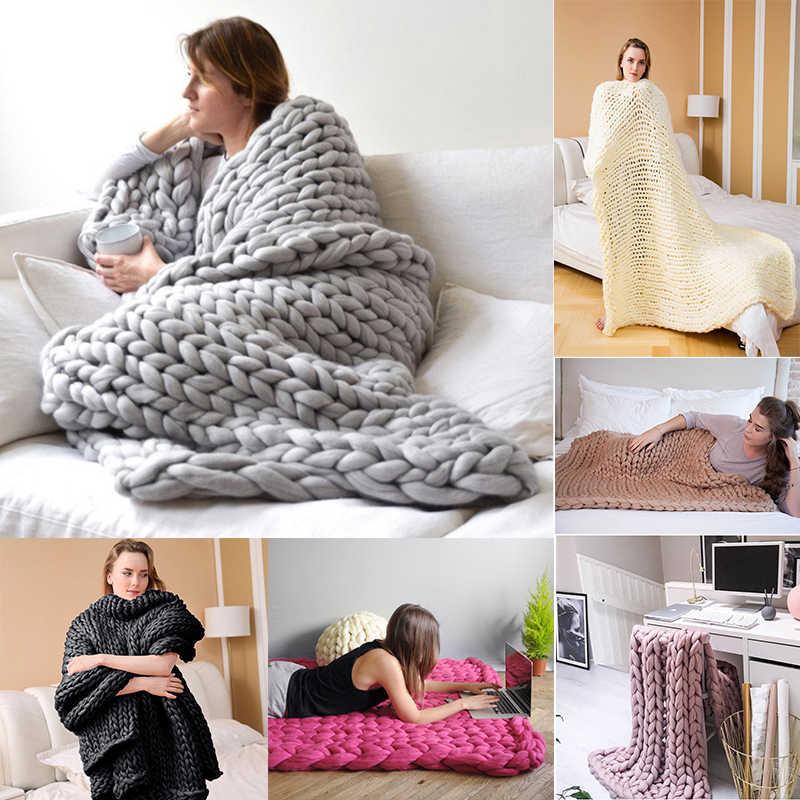 Adult merino wool chunky giant large big knit blanket soft warm Yarn knitted crochet Handmade bed.jpg q50