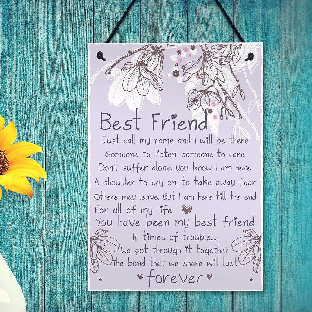 Meijiafei Friendship Gift Best Friend Plaque Sign Thank You Birthday Gifts For Her Keepsake Present 83x 117