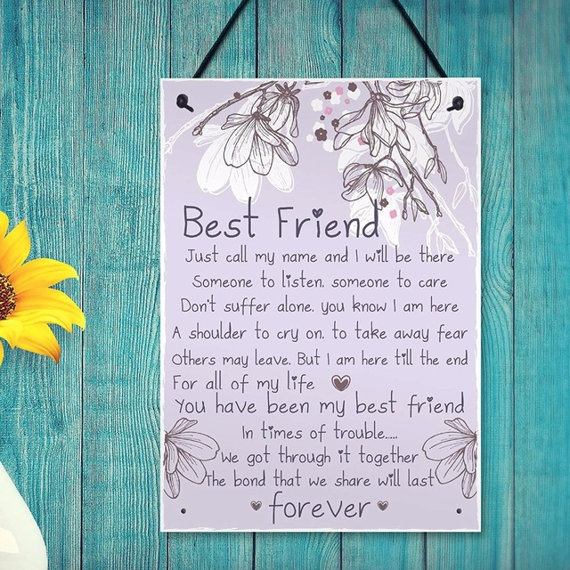 Meijiafei Friendship Gift Best Friend Plaque Sign Thank You Birthday Gifts For Her Keepsake Present 83x 117