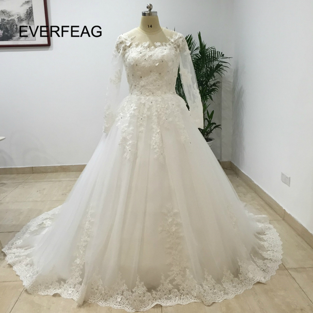 Luxury Cathedral Train Ball Gown Wedding Dresses 2017 Lace Long Sleeves Bridal Gowns See Through Back