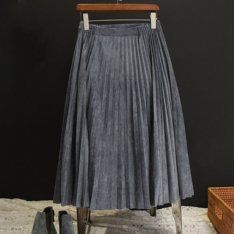 Image 3 - 2019 New Fashion Autumn Women Suede Skirt Pink White Long Pleated Skirts Womens Saias Midi Faldas Vintage Women Midi Skirt-in Skirts from Women's Clothing