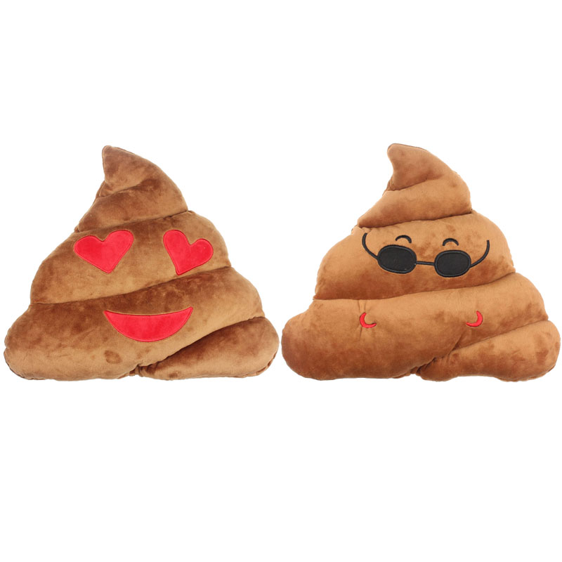 Ouneed Amusing Emoji Emoticon Cushion Heart Eyes Poo Shape Brown Color Pillow Doll Toy Throw Gift Best Gift Pillow Cushions ...