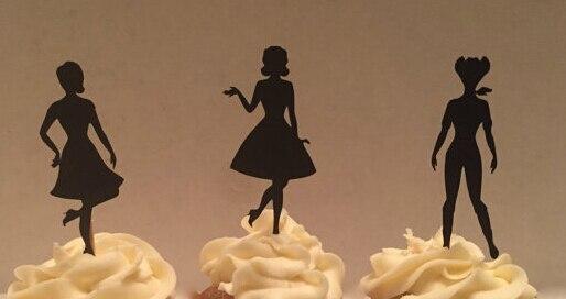 glitter 50 s pin up girl silhouette cupcake toppers bachelorette hem