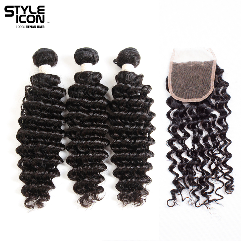 Styleicon Pre-colored Brazilian Deep Wave Bundles With Closure Non Remy Hair Extension Weave Human Hair Bundles With Closure
