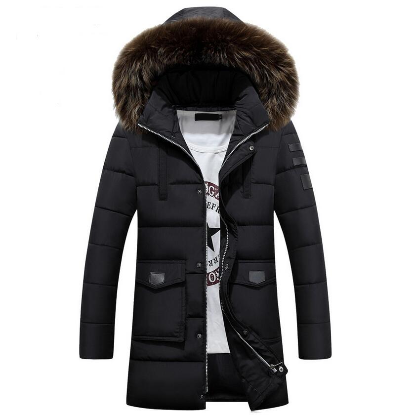 ФОТО 2017 New Winter Jacket Men Casual Big Fur Collar Long Coat Cotton Thicken Outwear Detachable Hooded Men's Parka Big Size XXXL