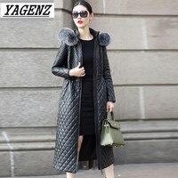 Зимние Для женщин куртка лисий мех Длинное пальто с капюшоном Высококачественная Черная теплая хлопковая ветровка пальто плюс Размеры 4XL Д