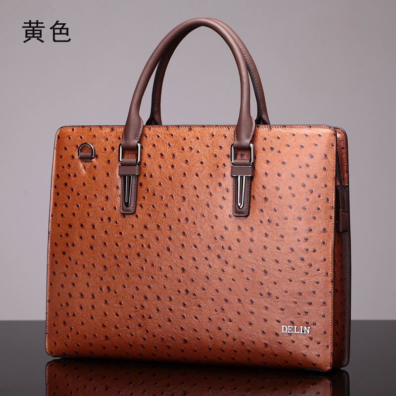 Delin ostrich pattern leather handbag handbag shoulder bag fashion men's business package briefcase men's leather cross section mengzhongmeng south africa ostrich leather women handbag fashion lady business bags briefcases female cross section 5 color
