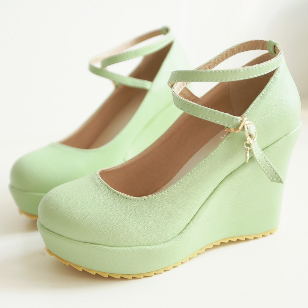 New Women Pumps Sweet College Wind Platform Pumps Fashion Wedges ...