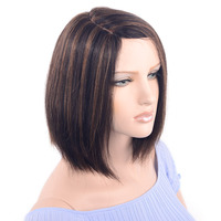 LADYSTAR Remy Short Bob Straight Human Hair Wig Right Part Hand Made 150% Density Mixed Blonde Color Wigs for Women