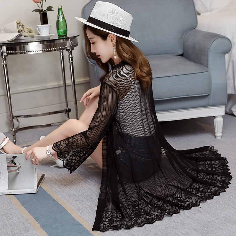 2019 сезон: весна-лето стиль кружево качество для женщин длинное пальто черный тонкий шифоновый Кардиган Топы корректирующие повседневное