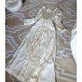 Fashion Printed Satin Silk Women's Robe Sets Two-Piece High-End Pure Silk Bathrobes White Princess Nightgown Free Shipping 1708