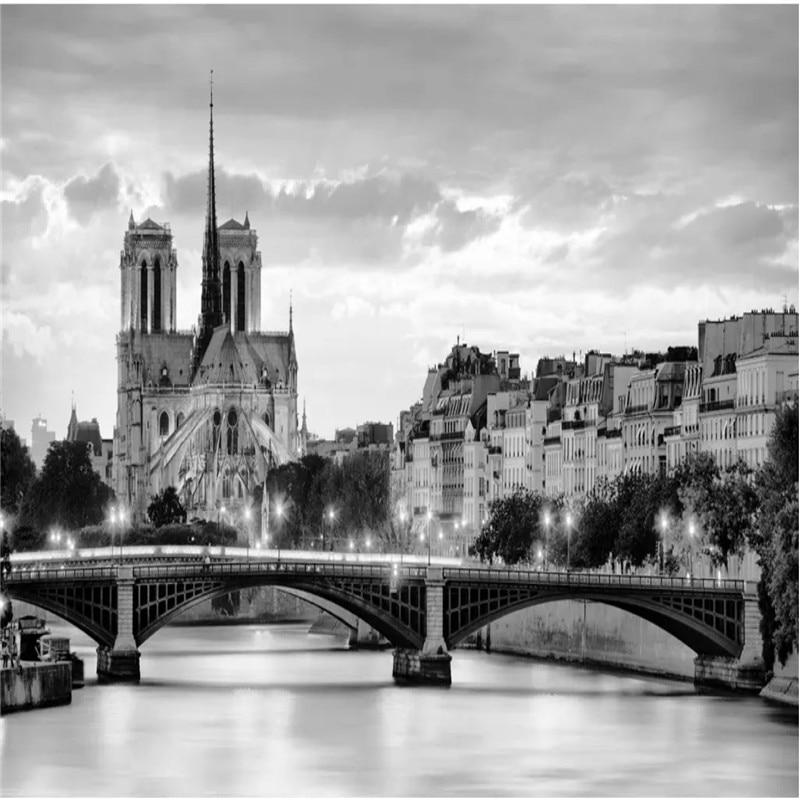 Custom Wall Paper 3d Hd France Notre Dame De Paris Night View Color Photo Wallpaper Black And White Mural Wallpaper 3d Murals Wallpapers Aliexpress