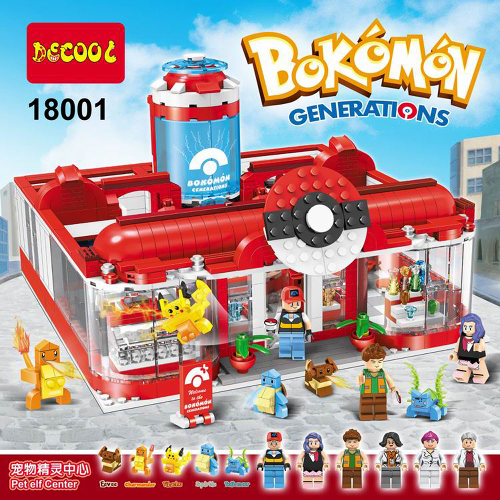 DECOOL 18001 Pokemon Go Pikachu Medical Center Building Blocks Sets For Kids Model Toys Minifigures Marvel