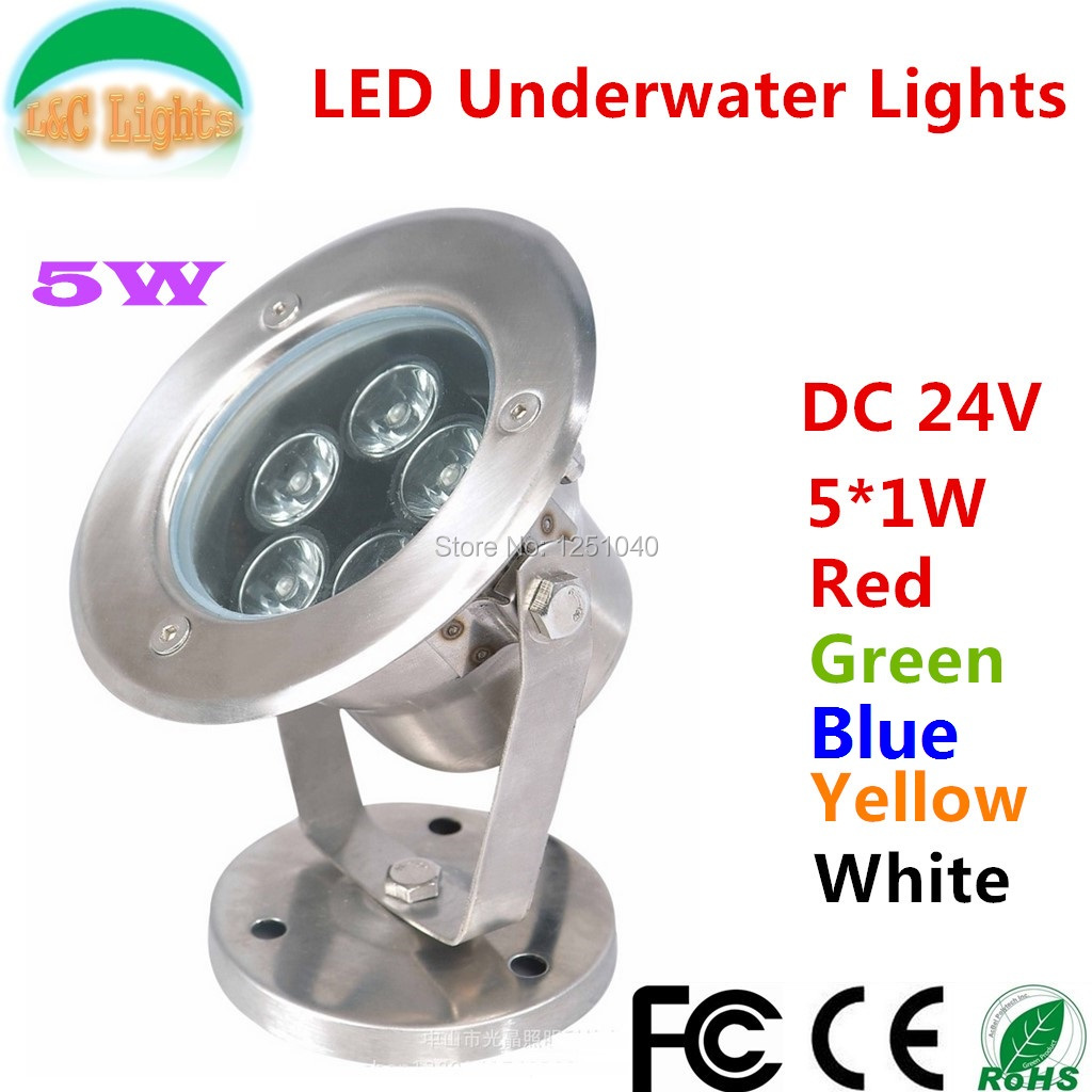 Free Shipping 5W LED underwater lights,DC24V Outdoor Spotlights IP68 Waterproof Floodlights Red Green Blue Yellow White
