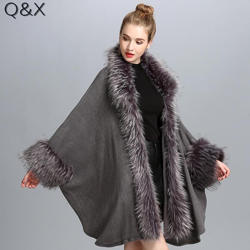 SC116 2017 Winter Warm Fake Fur Long Knitted Tassels Loose Poncho Cape Autumn Cashmere Sweater Women European Cardigan Coat