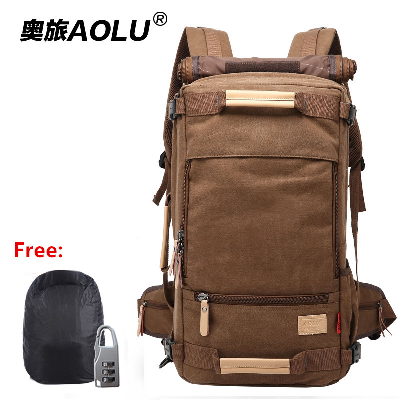 AOLU Waterproof canvas Travel male outdoor backpack New arrivel travel bag Multi-functional leisure backpack business laptop bag фото