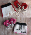 Baby boy Boxing Gloves with shorts set, girl Boxing Gloves with Short skirt , Newborn crochet Photography Prop size:0-1m,3-4m