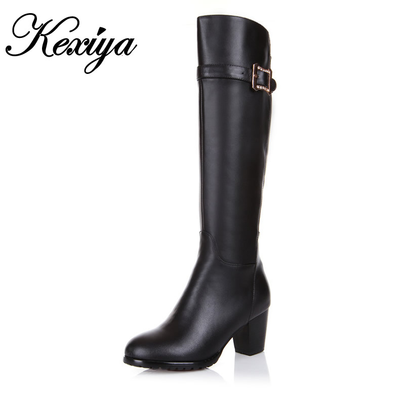 ФОТО Hot sale! Big size 34-45 winter boots fashion round head Belt buckle decorated zipper leather boots High heels boots JBH-BH-318