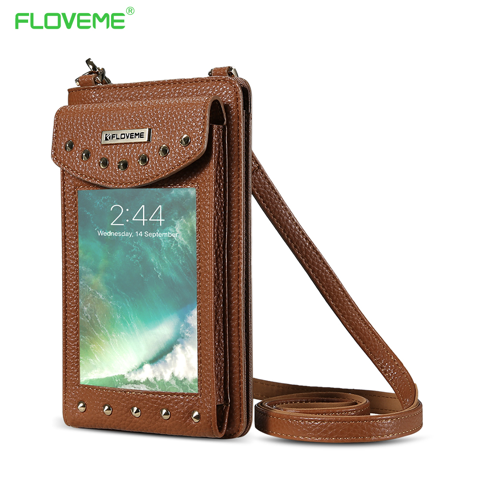 FLOVEME 5.5 Inch Leather Wallet Cases For iPhone 6 6s 7 Plus Rivet Pouches For iPhone X For iPhone 8 7 6 Plus Shoulder Bag Coque