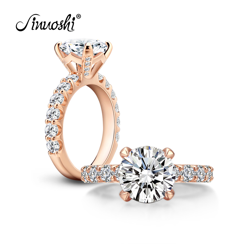 AINOUSHI 925 Sterling Silver Rings for Women bague femme argent Engagement Wedding 3 Carats Rose Gold