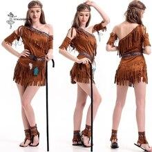 Костюм для косплея на Хэллоуин, с кисточками, индийское, племенное, танцевальное платье для женщин, индейское, принцесса племени, сценический костюм для девочек