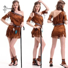 Halloween Cosplay Costume Tassel Indian Tribal Dance Dress Women Native Indians Princess of Tribe Stage Performance Costume Girl(China)
