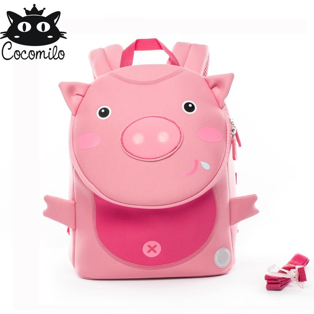 2018 Factory Cocomilo Kids Kindergarten Girls Boys School Bags Children Waterproof Cute Pig Panda Backpacks Zoo Anti-lost Bags