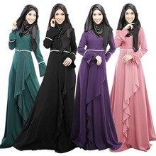 2017 Design Muslim Womens Kaftan Abaya Islamic Dress O Neck Long Sleeve Empire Waist Chiffon Floor
