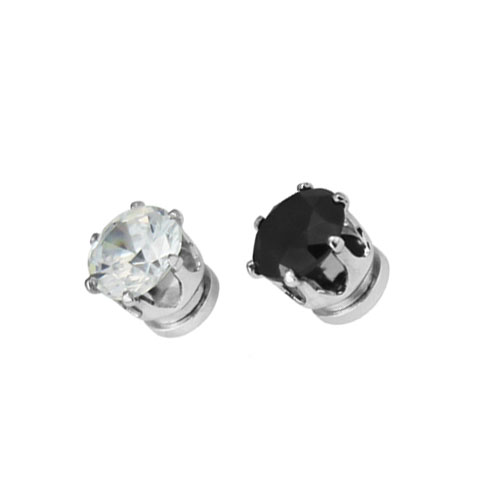2018 HOT CZ Stud magnet Earrings for men black 6MM 8MM round trendy Fashion earrings clip no pierced pendientes de clip