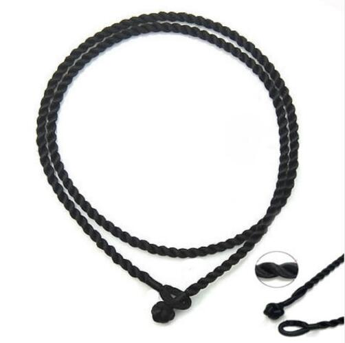 10PCS 2/3mm black/red 50CM Silk Cord Twist Thread Necklace Fit European Charms beads/pendant jewelry accessories