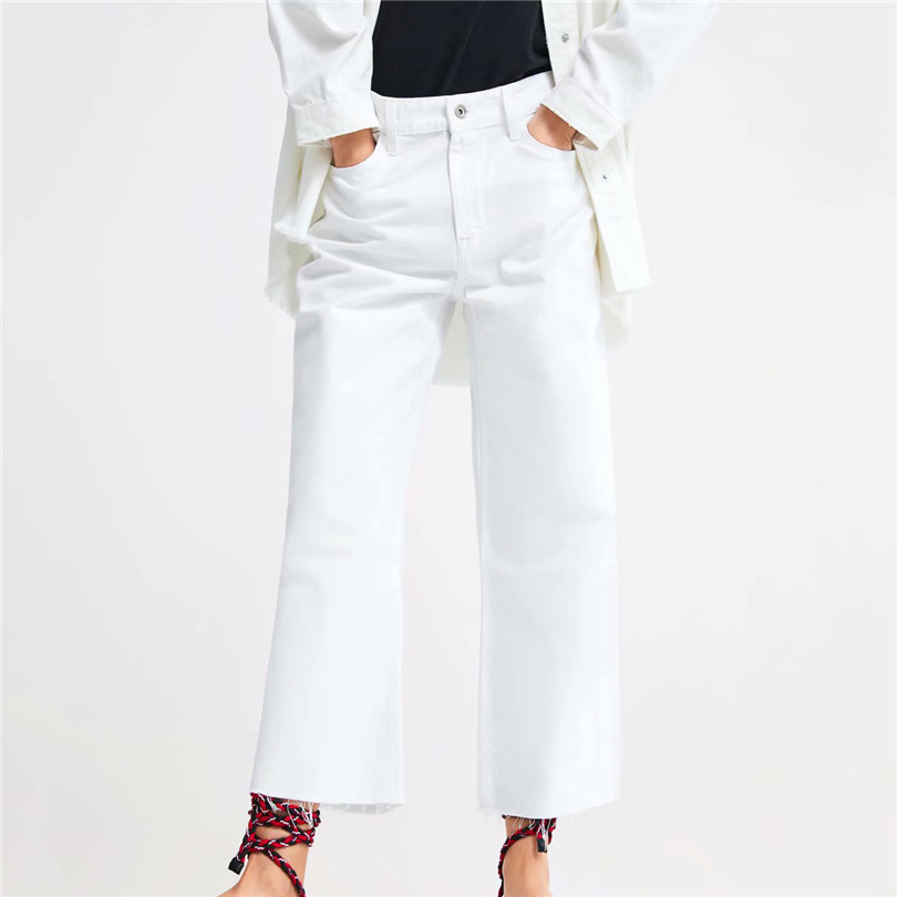 Women OL high waist white   wide     leg     pants   style pockets Tassel design 2019 casual trousers pantalones