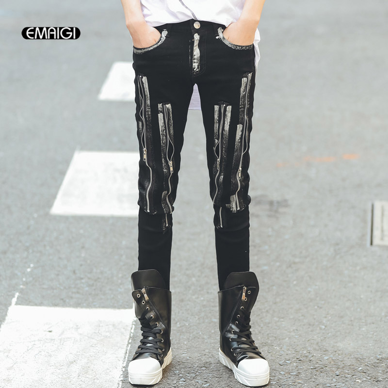 Men Metal Zipper Paint Design Slim Fit Casual Jeans Trousers Fashion Punk Rock Motorcycle Denim Pant Male Boot Pant Streetwear jeans men s blue slim fit fashion denim pencil pant high quality hole brand youth pop male cotton casual trousers pant gent life