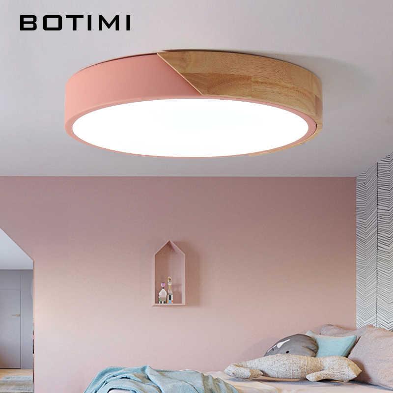 BOTIMI 220 V светодиодный Потолочные светильники Nordic Стиль круглый потолочная лампа для Деревянный Кухня светильник